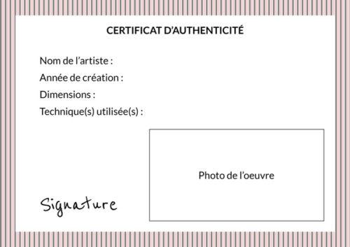 Certificat d'authenticité pour un tableau ou une photographie